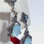 Thai 925 Sterling Silver Blue Quartz Dangle Earrings Pierced