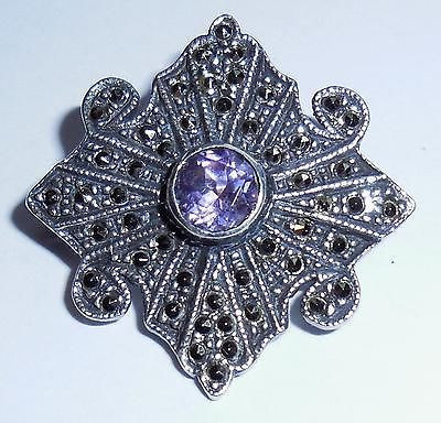 Vintage 925 Sterling Silver Marcasite Amethyst Pin