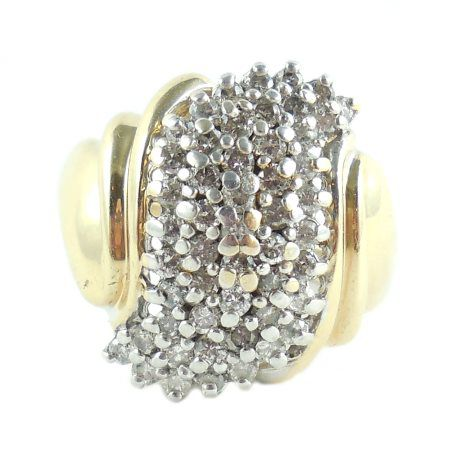 14k Yellow Gold 1 Carat Diamond Cluster Ring