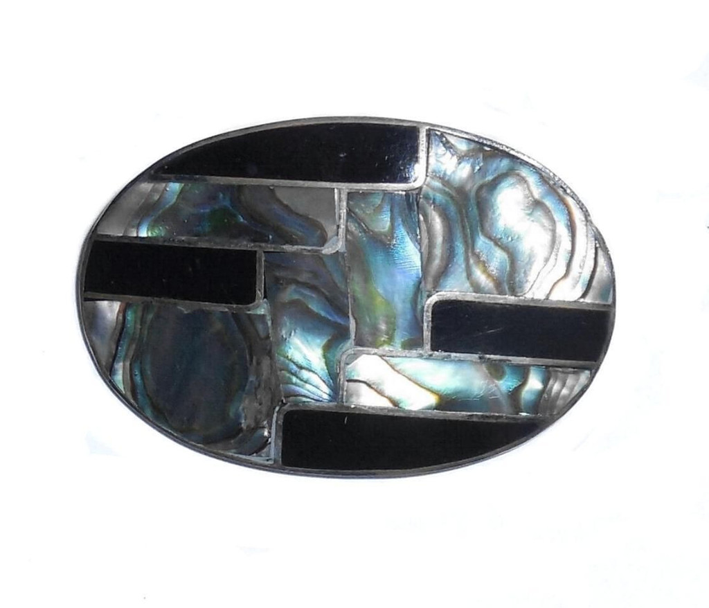 Vintage Hand Made Abalone And Enamel Alpaca Silver Pendant Pin