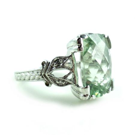 14k Gold Briolette Green Amethyst Diamond Ring 8.25