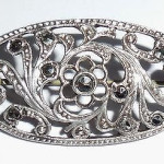 Antique Art Deco Germany Sterling Silver Fancy Marcasite Pin European