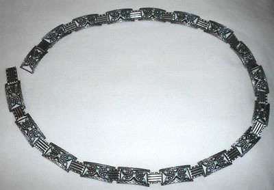 "Pre 1950s Mexican Sterling Silver And Turquoise 26"" Belt"