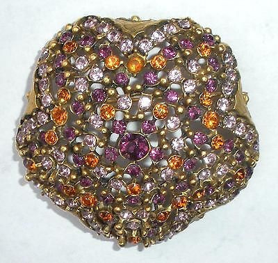 Fancy Lee Angel Citrine Amethyst Color Rhinestone Pin Excellent Condition