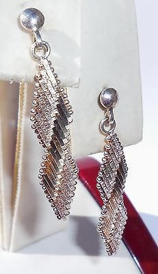 1970s Vintage Flexible Mesh Sterling Silver Pierced Earrings