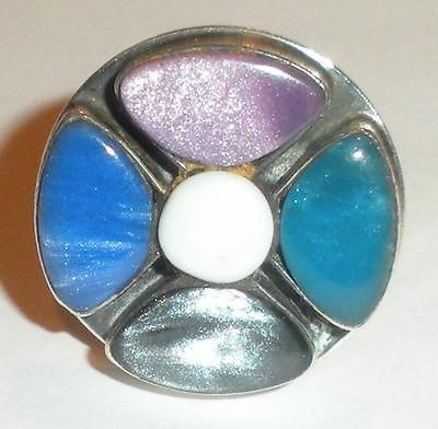 Large Modernist Mexican Sterling Silver 16.4g Multi Stone Ring Size 7
