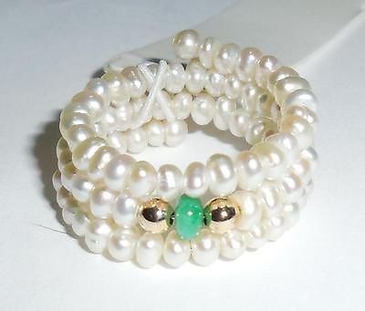 Ross Simons 14k Gold Jade 3 Band Pearl Adjustable Ring Sizes 5 To 9
