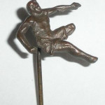 Antique Edwardian To Art Deco Figural Stickpin Track And Field Runner Jumper Athlete