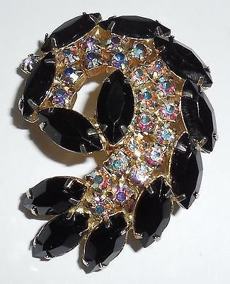 Large Vintage Jet Black Faceted Round Ab Rhinestone Pin Crisp Clean