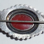 Vintage 1930s Art Deco Sterling Silver Marcasite And Carnelian Pin