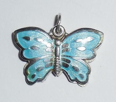 Antique Art Deco Sterling Silver Imh Enamel Butterfly Slide Fob Pendant Catholic