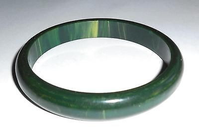 Original 1930s Art Deco Green & Yellow Marbled Bakelite Bangle Bracelet