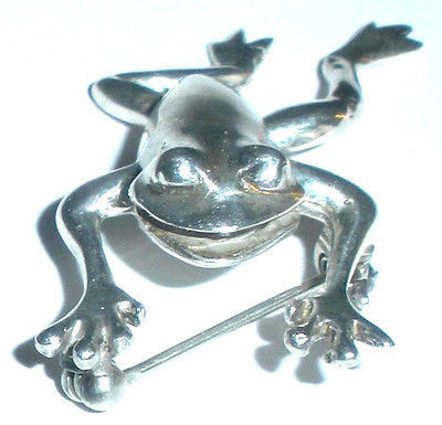Movable Sterling Silver Laughing Frog Pin With Moving Parts