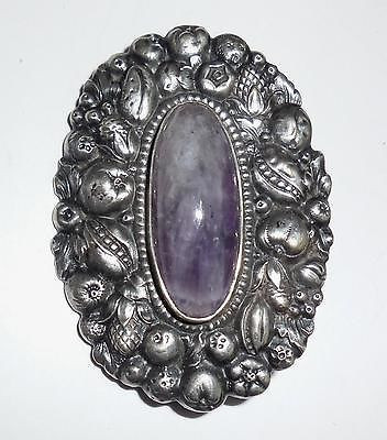 Antique Victorian Art Nouveau 800 Euro Silver Amethyst Aesthetic Fruit Sash Dress Pin Large