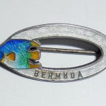 Antique Enameled English Bermuda Sterling Silver Fish Pin Hallmarked