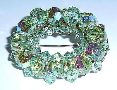Stunning Vintage Hand Wired Mint Green Cut Crystal Pin No Stone Wear Crisp Clean
