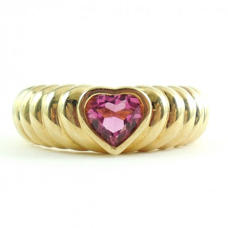 Tiffany & Co 18K Yellow Gold Ruby Tourmaline Heart Ring Size 6.75
