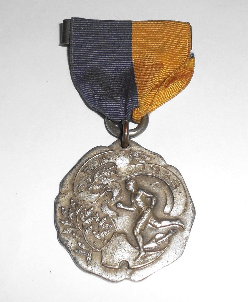 Antique Vintage Art Deco 1938 Mens Track & Field Runner Medal Pin Fob