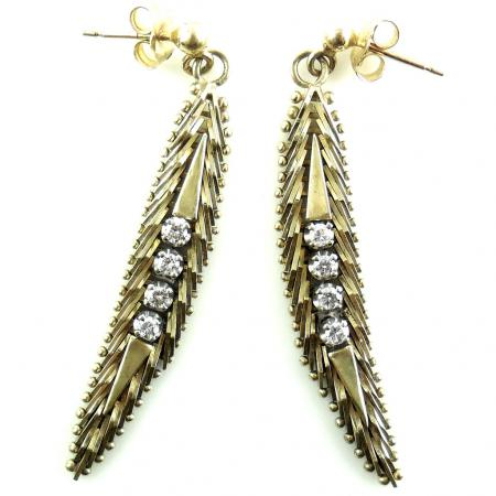 vintage 14k yellow gold .5 carat diamond dangle earrings