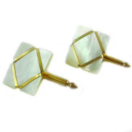 Vintage Art Deco Mother Of Pearl Slabs Mens Studs Tips Cufflinks