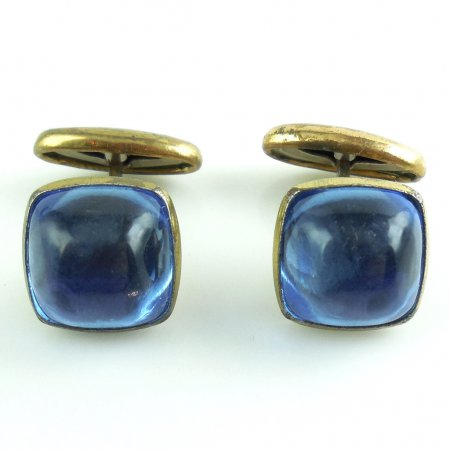 Vintage Art Deco Retro Mens Swivel Cufflinks Early Plastic Blue Cabs