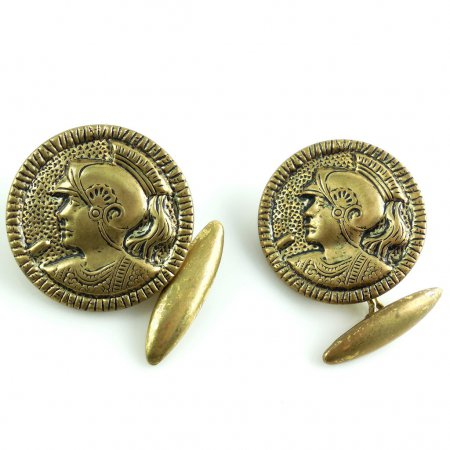 Vintage Art Deco Roman Greek Gladiatior Mens Brass Button Cufflinks