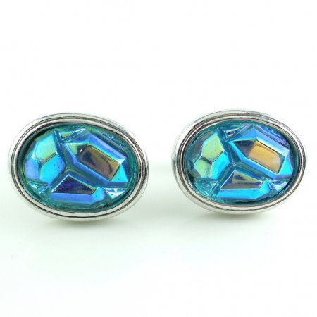 Vintage Blue Purple Green Neon Aurora Borealis Glass Cufflinks 60s 70s Disco Usa