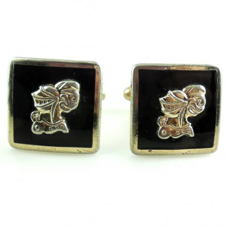 Vintage Enameled Raised Medieval Knight In Armor Mens Swivel Cufflinks