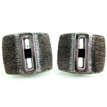 Vintage German Sterling Silver Mens Swivel Cufflinks