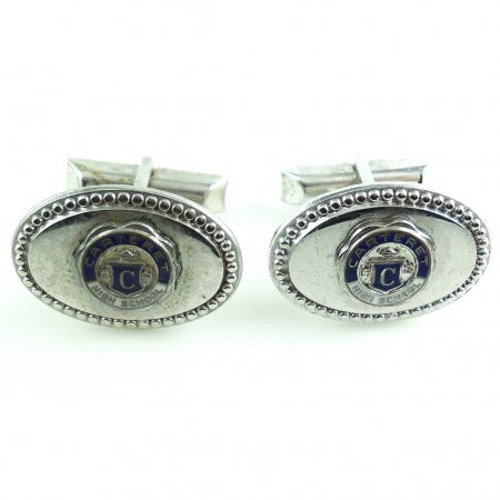 Vintage Kinney Enameled Carteret Nj High School Mens Enamel Cufflinks New Jersey