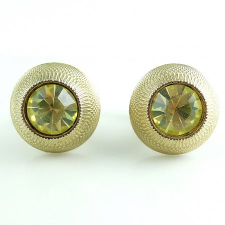 Vintage Lemon Citrine Glass Mens Swivel Cufflinks No Wear Clear Clean Stones