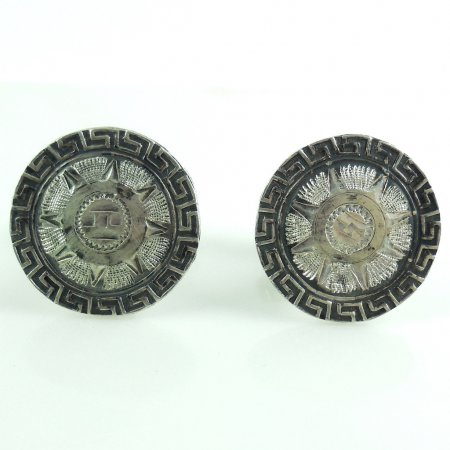 Vintage Mayan Aztec Mexican Sterling Silver Mens Cufflinks #28 Eagle Mark