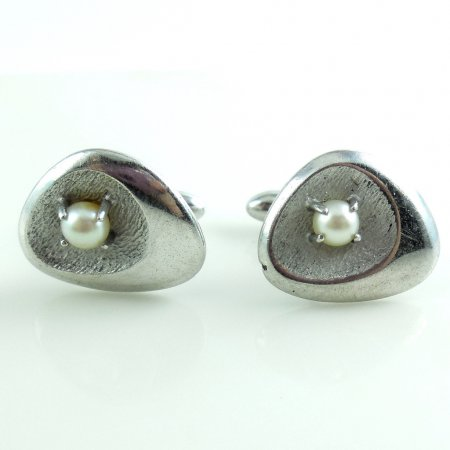 Vintage Mid Century Modern Sterling Silver Cultured Pearls Mens Swivel Cufflinks