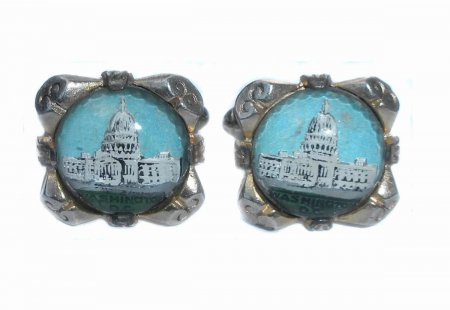 Vintage Retro Art Deco Bubble Glass Washington Dc Mens Cufflinks