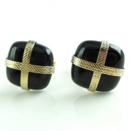 Vintage Retro Black Onyx Glass Goldtone Wrapped Mens Cufflinks Excellent Condition