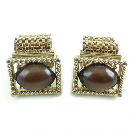 Vintage Retro Gold Tone Mesh Wrap Around Mens Swivel Cufflinks Thermoset Cat Eye