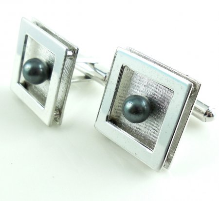 Vintage Shadowbox Mens Sterling Silver Cufflinks With Faux Pearls