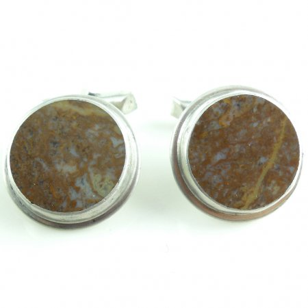 Vintage Sterling Silver Red Jasper Slabs 2 Way Swivel Mens Cufflinks No Monogram
