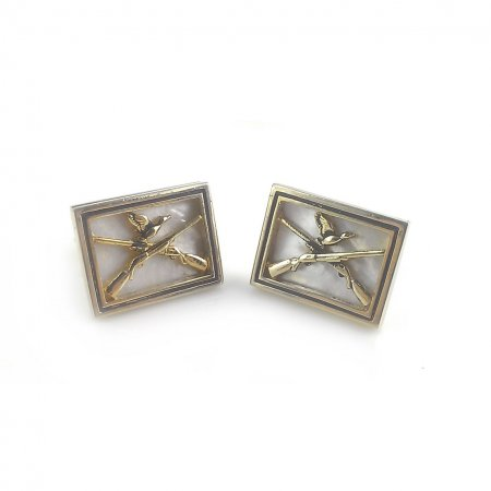 Vintage Swank Gold Mother Of Pearl Crossed Rifles Duck Hunting Mens Cufflinks