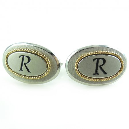 Vintage Swank Letter R Monogram Mens Swivel Cufflinks Excellent Condition