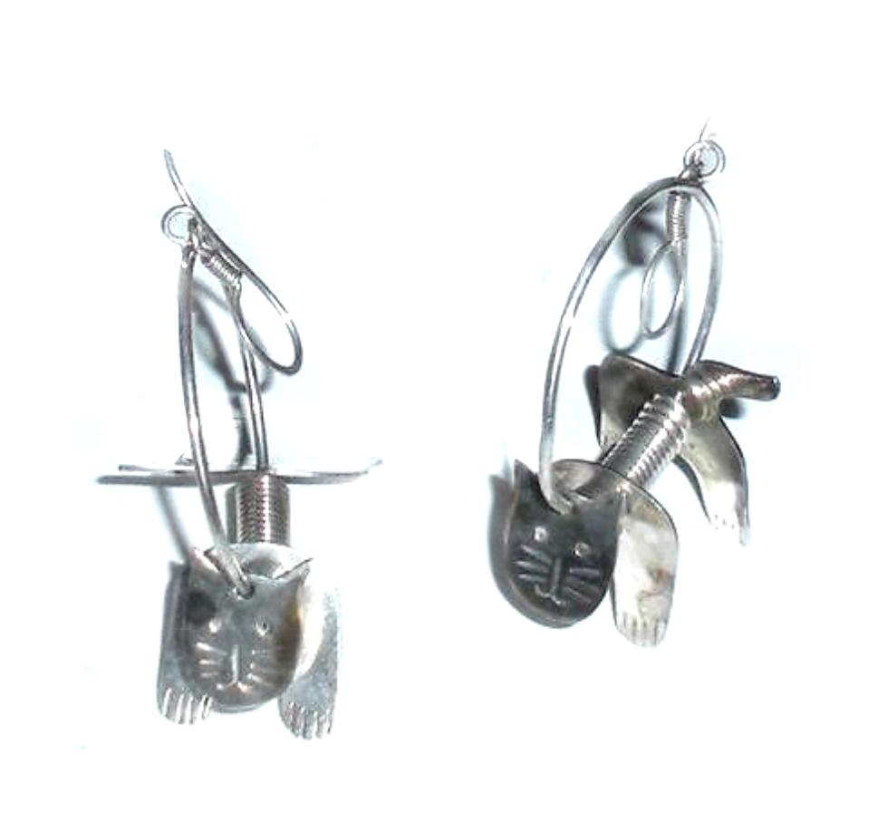 Big Articulated Cat Skeleton Mexican Sterling Silver Earrings
