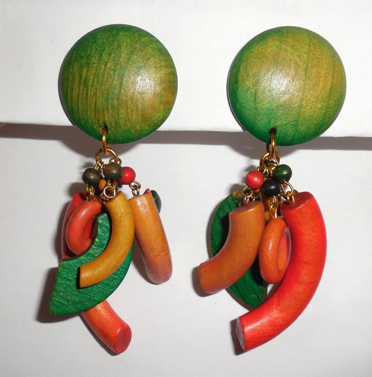 Vintage Vegetable Colors Dyed Wood Large Multiple Dangle Earrings Pierced Post
