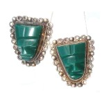 Handmade Mexican Sterling Silver Chrysoprase Chalcedony Carved Face Screw Earrings