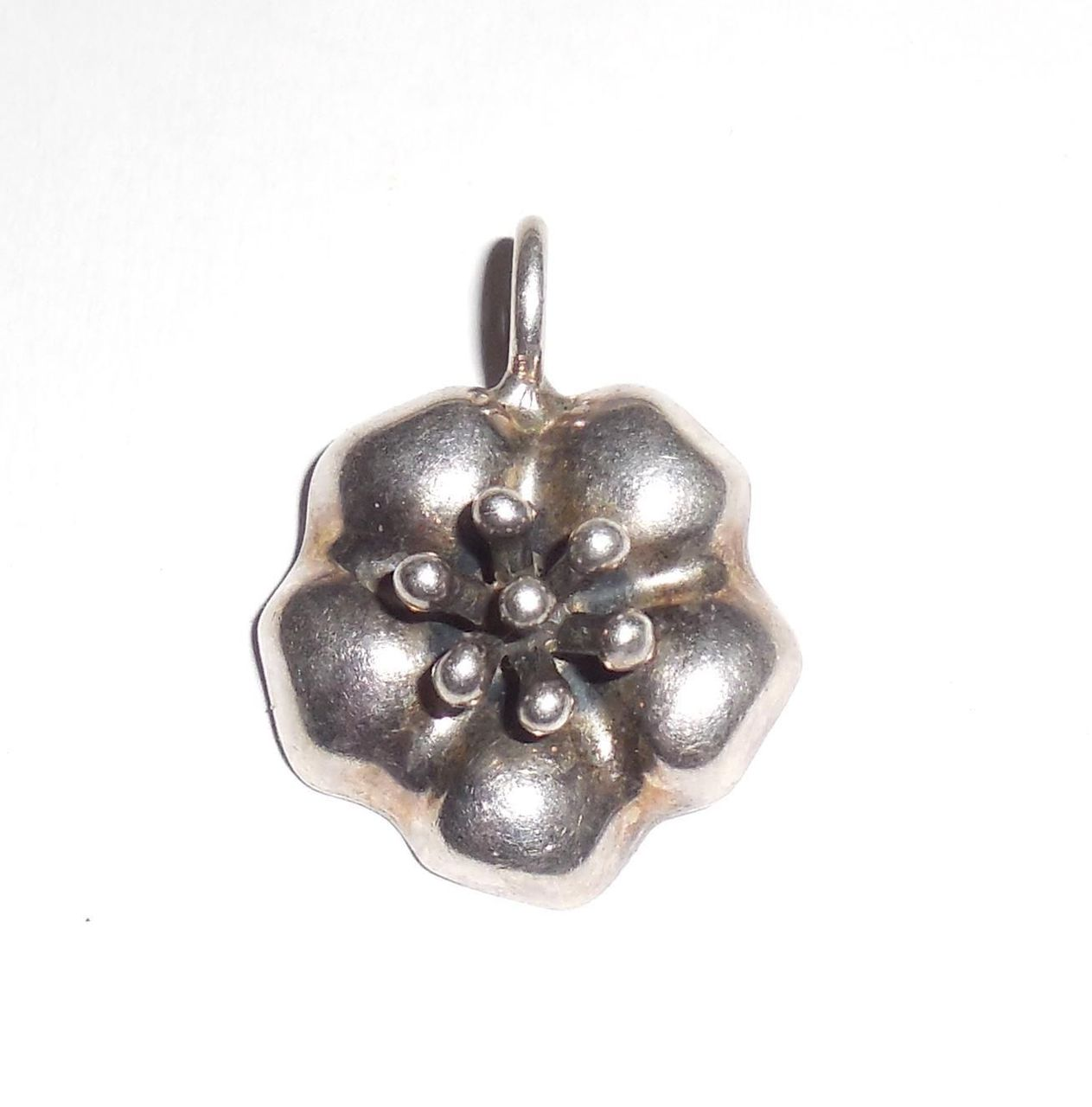 Vintage Barra Sterling Silver Puffy Flower Pendant Fob