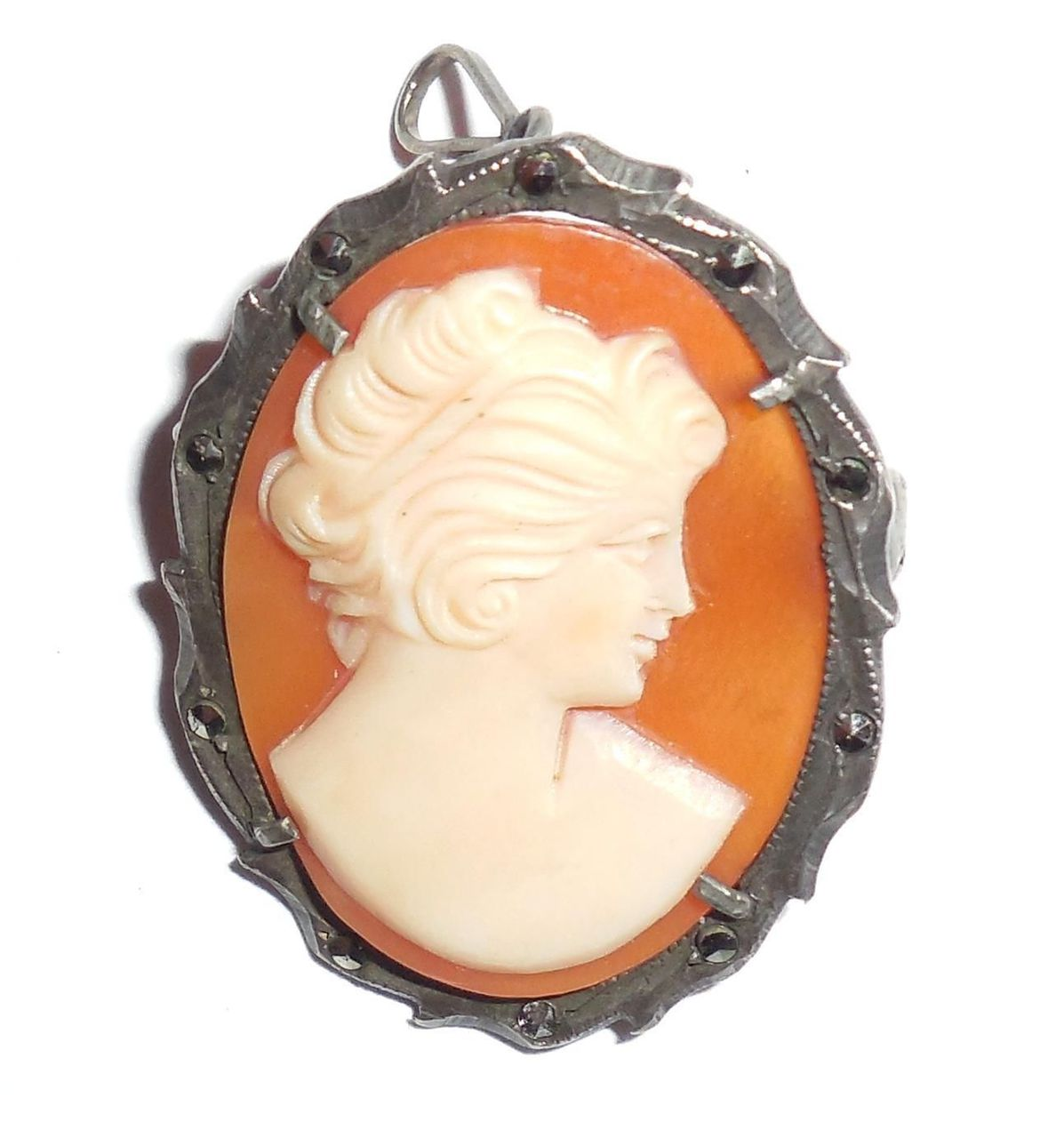 Art deco 800 fine italian silver carved shell cameo pendant pin euro art deco 800 fine italian silver marcasites carved shell cameo pendant pin euro aloadofball Image collections