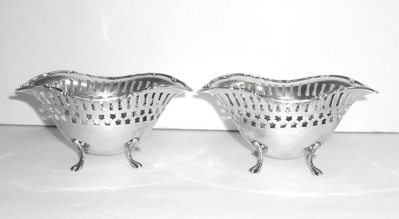 Pair Of 2 Antique Towle Sterling Silver Fancy Footed Bon Bon Nut Serving Bowls