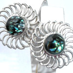 Large Handmade Mexican Sterling Silver  Abalone Pierced Earrings
