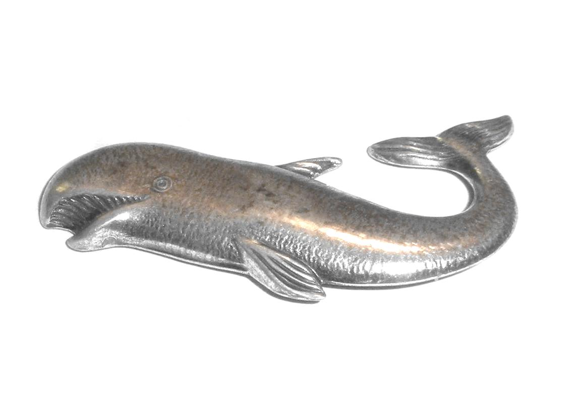 Mid Century Danecraft Hammered Sterling Silver Whale Fish Pin