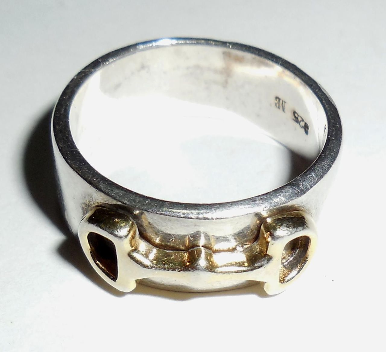 Hand Made Sterling Silver Gold Overlay Cigar Band Ring Bali Thai Size 6