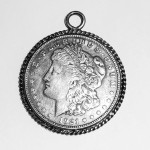 Art Deco 1921 Morgan 900 Silver Dollar Coin Pendant In Bezel Set In Sterling Silver